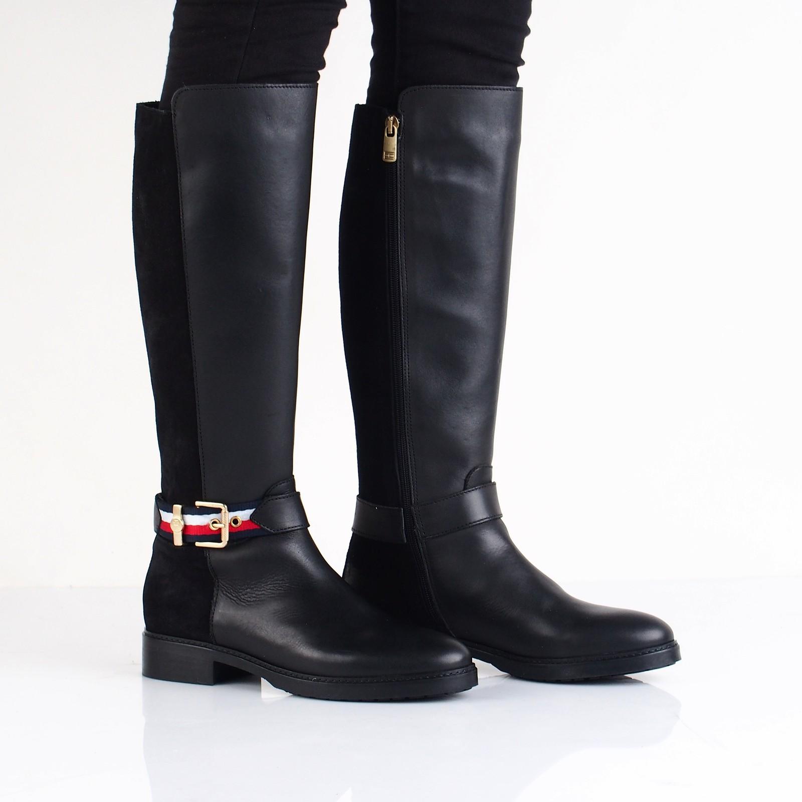 2a4e479c49 Tommy Hilfiger dámske kožené vysoké čižmy - čierne ...