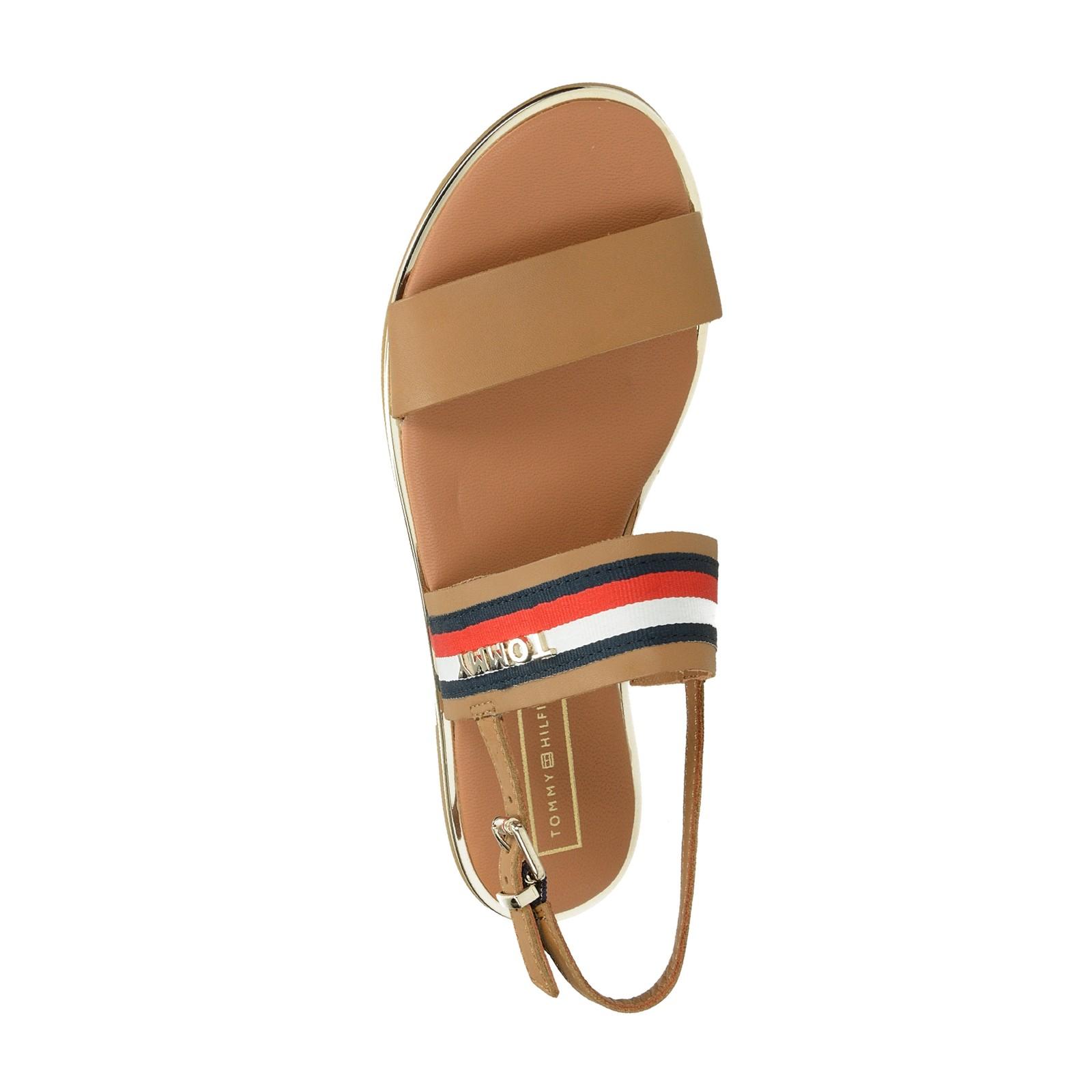 Tommy Hilfiger dámske kožené štýlové sandále - hnedé