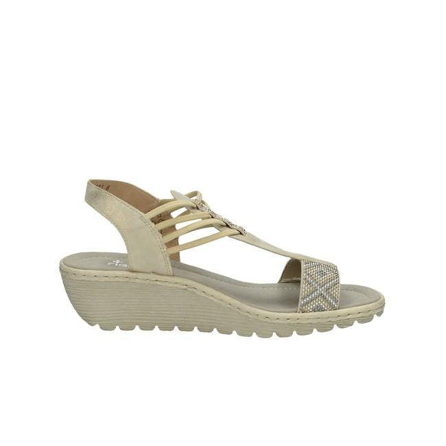 Rieker dámske elegantné sandále s ozdobnými kamienkami - béžové ... 1e5dd901bf7