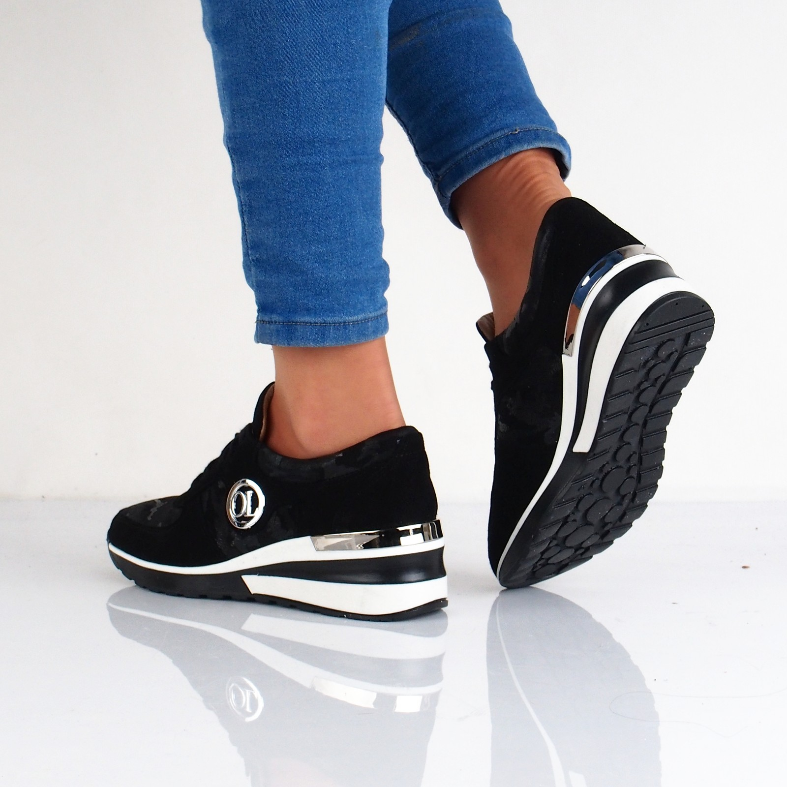 5cc01ad0c0 Olivia shoes dámske kožené tenisky na klinovej podrážke - čierne ...