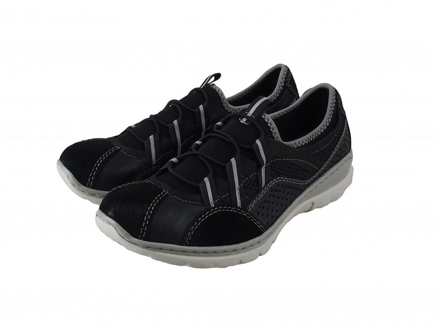 Rieker dámske pohodlné kožené tenisky - čierne ... 7ac4c44dc43