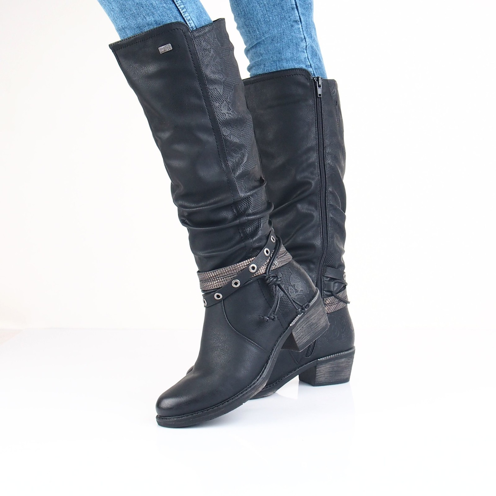 Remonte dámske vysoké čižmy - čierne