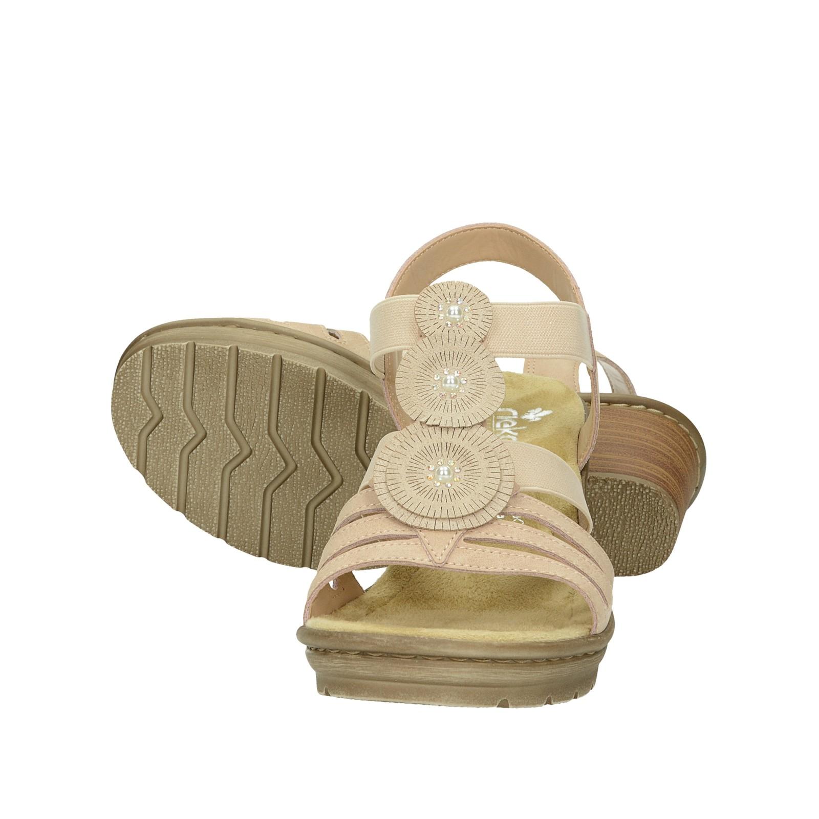Rieker dámske štýlové sandále na podpätku - ružové