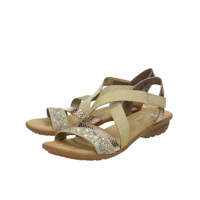 fc5e5836578f ... Rieker dámske elegantné sandále na suchý zips - béžové ...