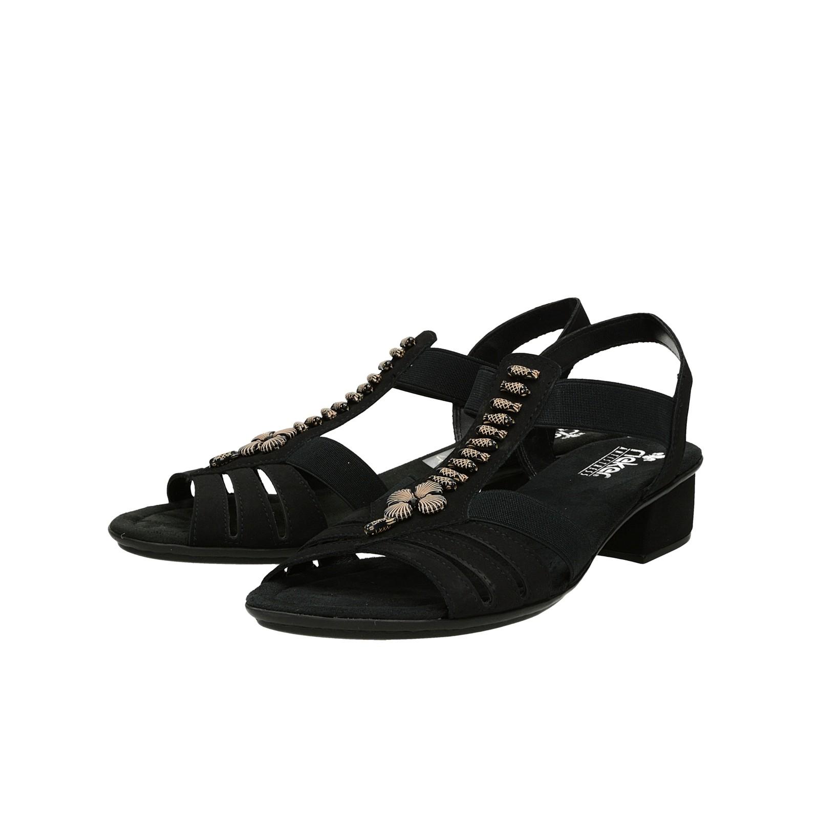 Rieker dámske sandále s ozdobnými prvkami - čierne