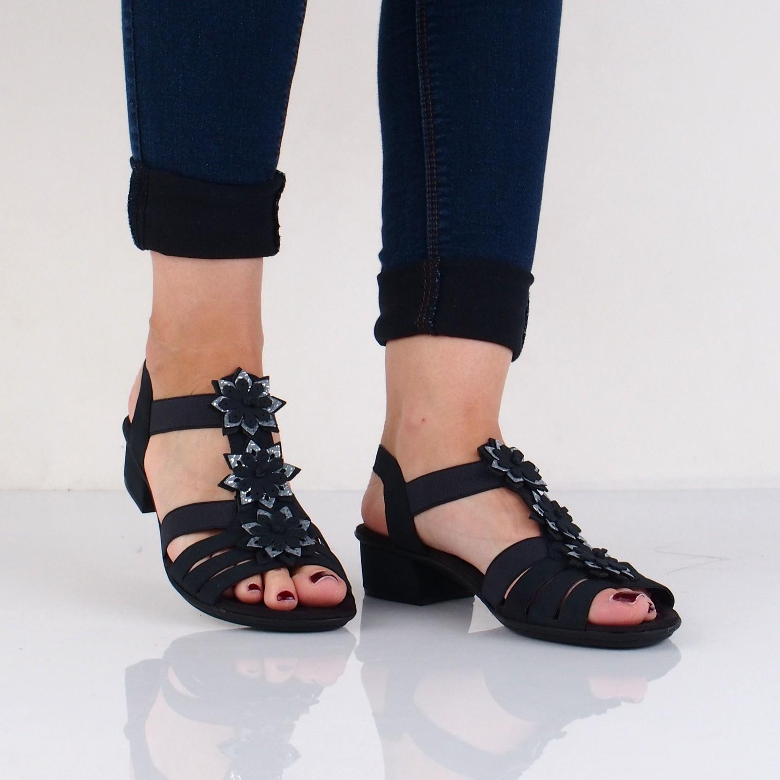 Rieker dámske štýlové sandále na podpätku - tmavomodré