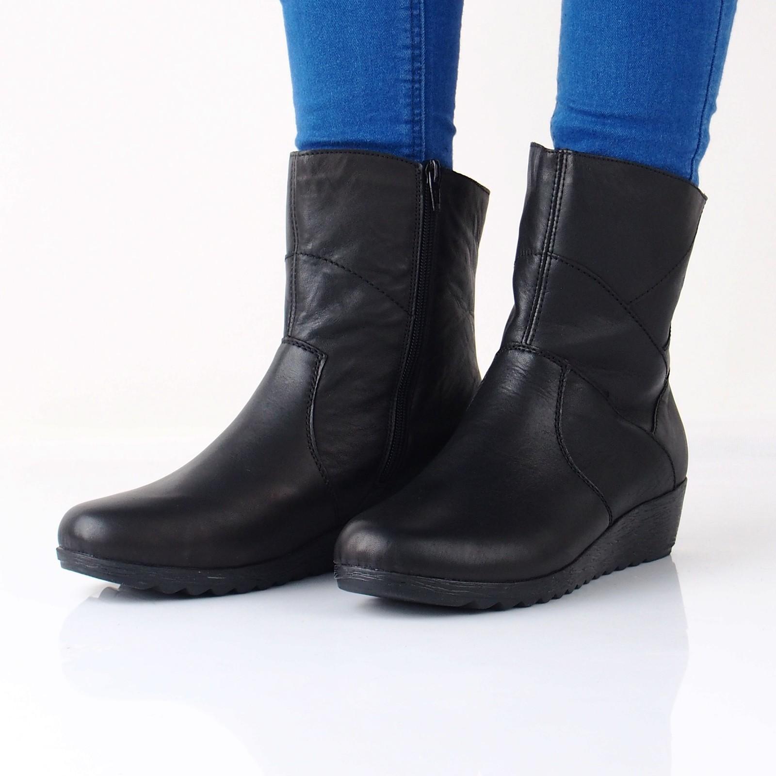 d1e52d9456f19 Rieker dámske kožené nízke čižmy na zips - čierne | X248400-BLK www ...