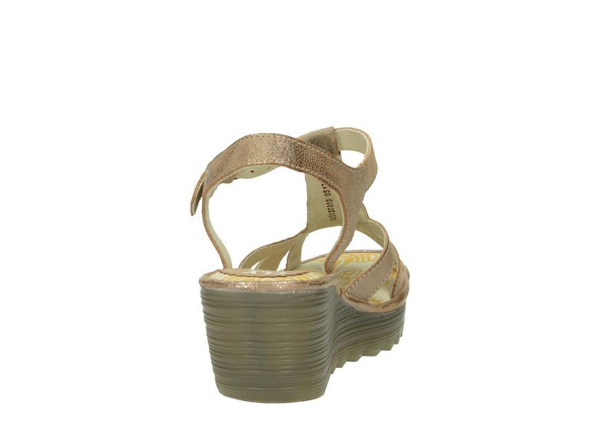 f0e7bdc1bb ... Fly London dámske kožené sandále - zlaté ...