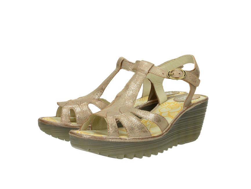 a288001993 Fly London dámske kožené sandále - zlaté ...
