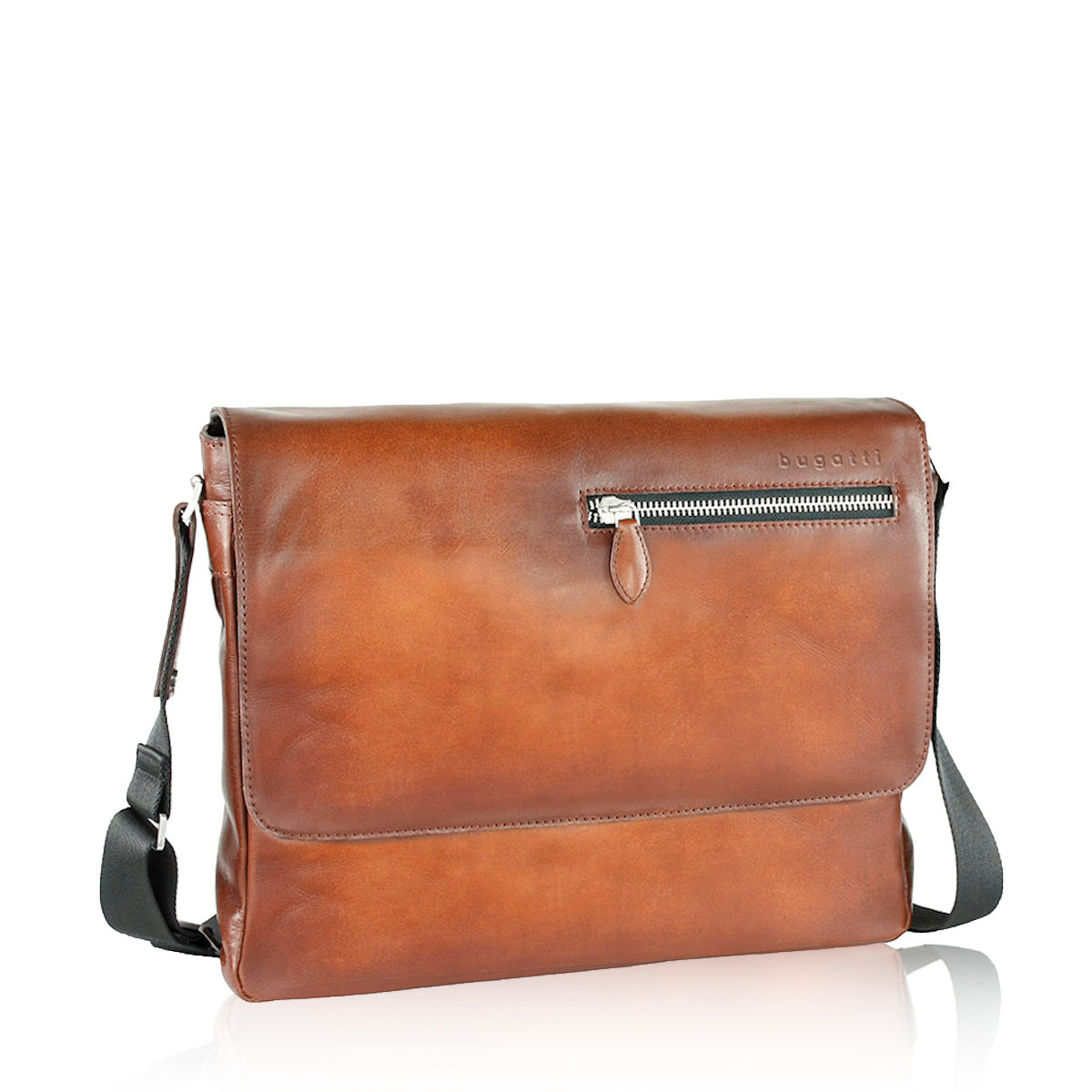 Bugatti pánska kožená praktická notebooková taška - koňaková