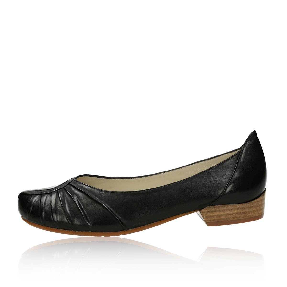 7bcf6aa4066e ... Canal Grande dámske kožené balerínky na podpätku - čierne ...