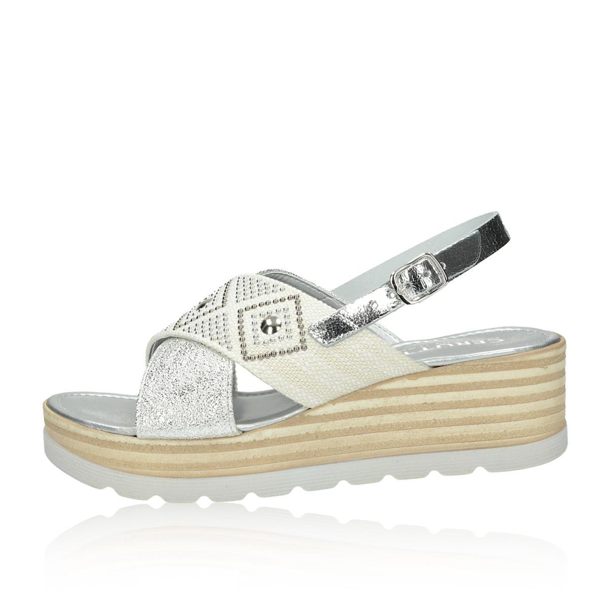 c2d134fca391 ... Cerutti dámske elegantné sandále s ozdobnými kamienkami - strieborné ...