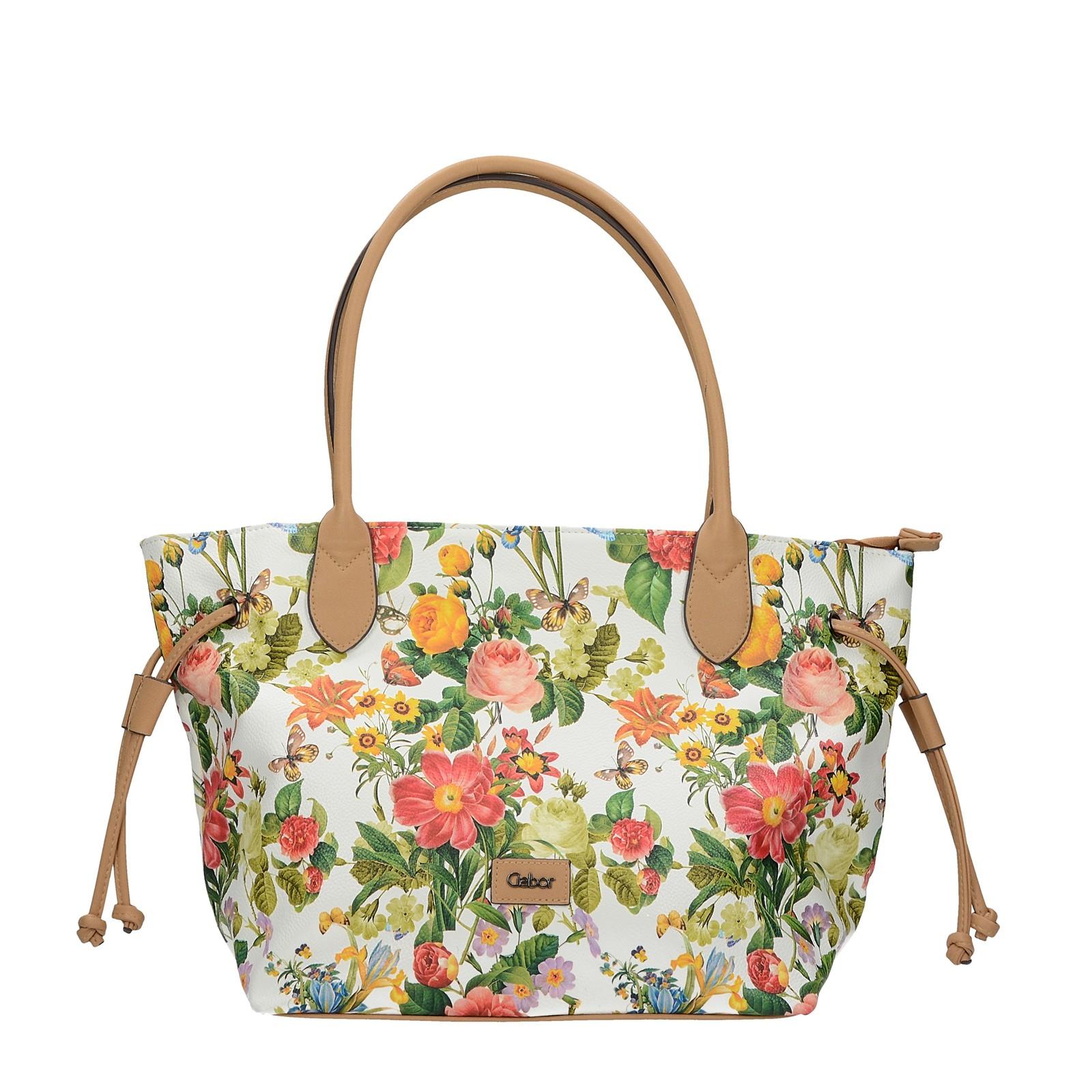 Gabor dámska štýlová kabelka s kvetovým vzorom - biela