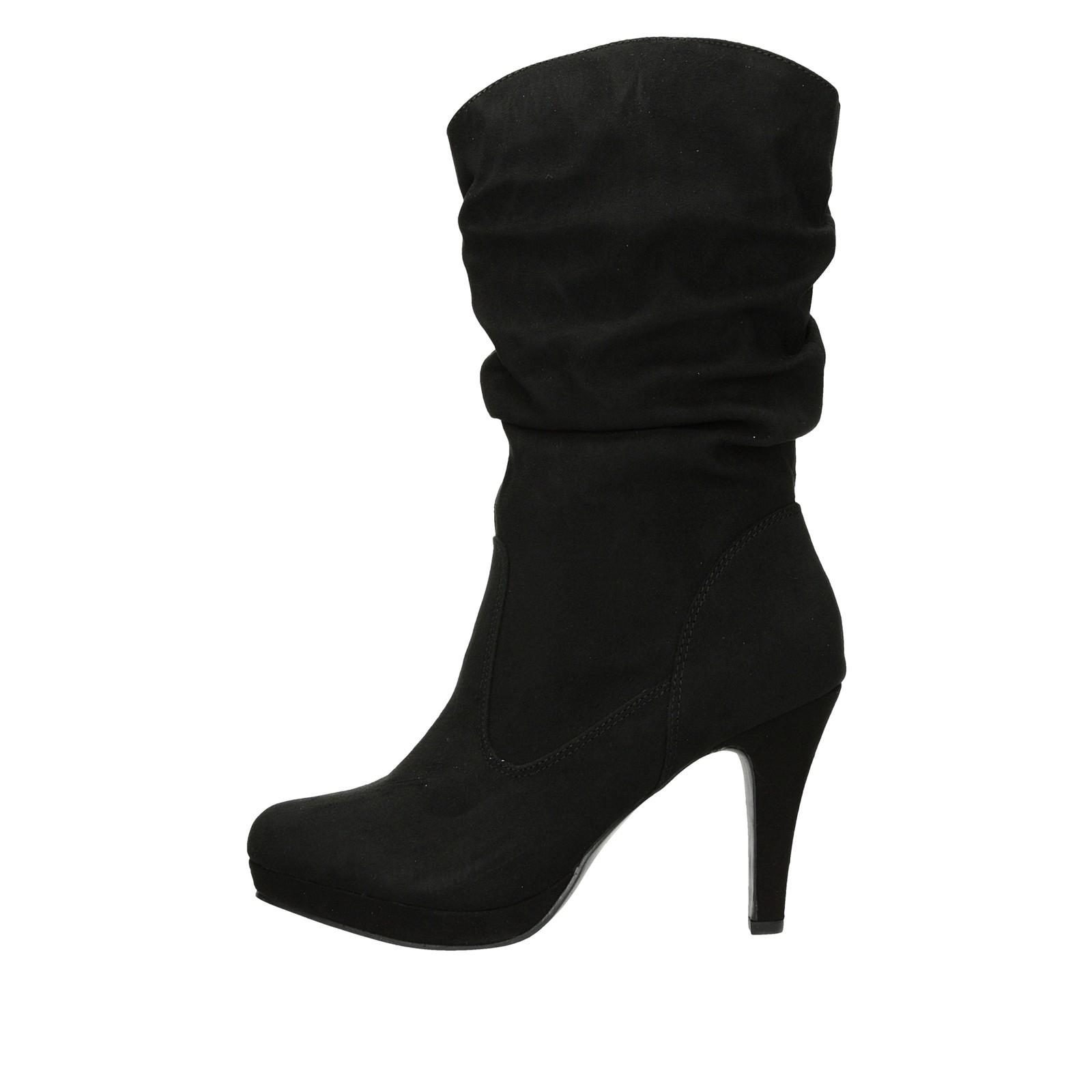 ... Jane Klain dámske textilné čižmy na vysokom podpätku - čierne ... 31ea1429d36