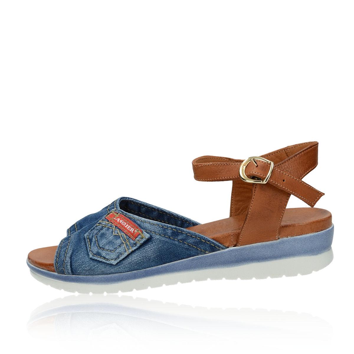 b2f90272e2be ... Lanqier dámske štýlové sandále s remienkom - modré ...