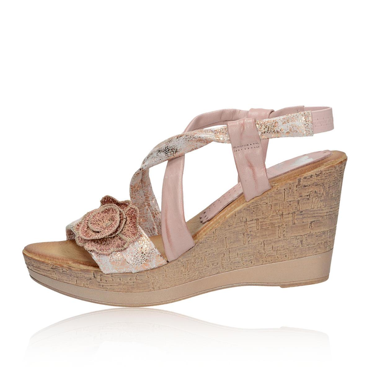 ebcd0cbce943 ... Marila dámske kožené sandále na klinovej podrážke - ružové ...