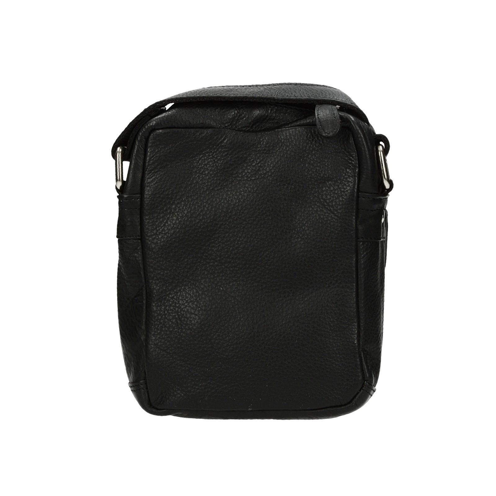 Mercucio pánska kožená crossbody taška - čierna