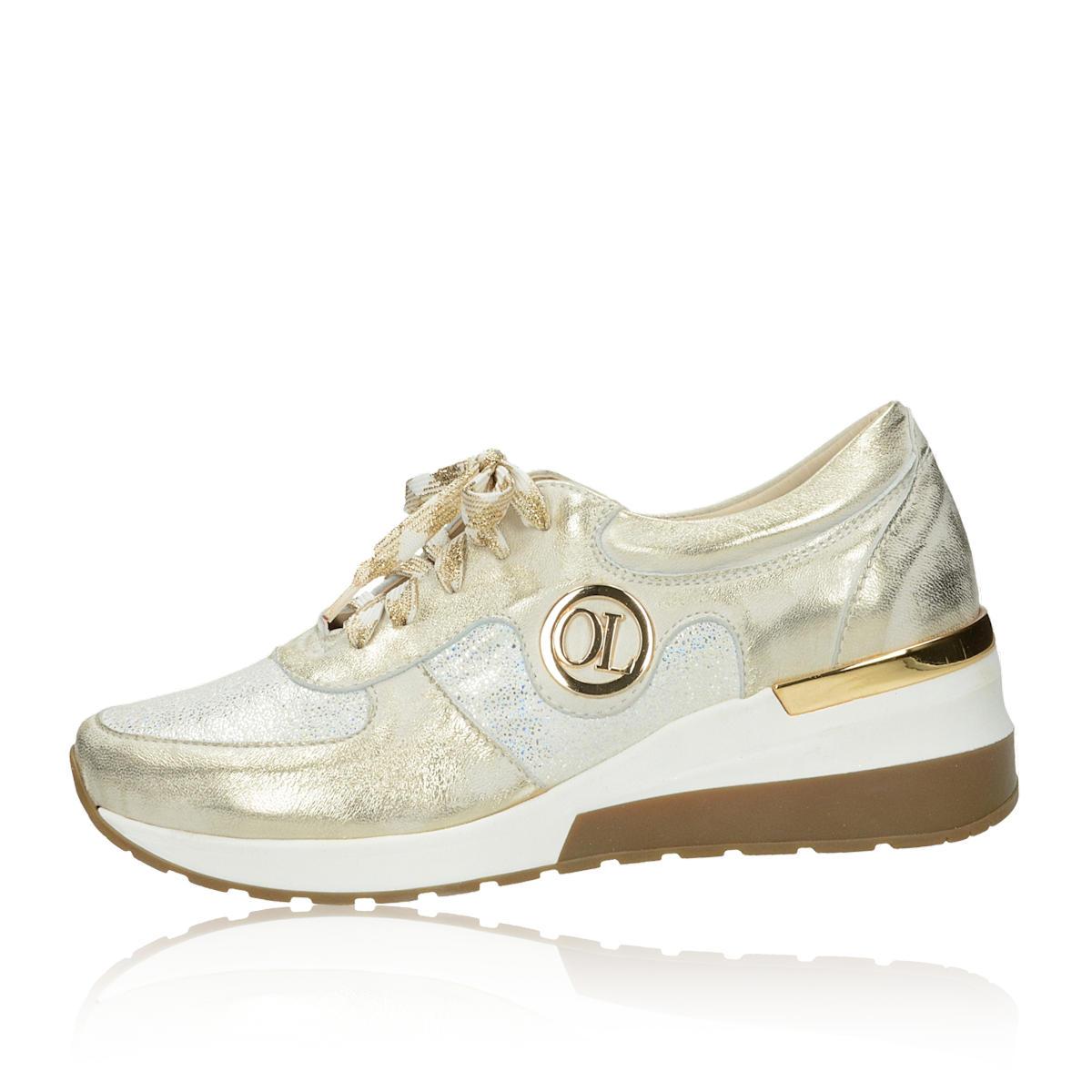 Olivia shoes dámske kožené tenisky na klinovej podrážke - zlaté