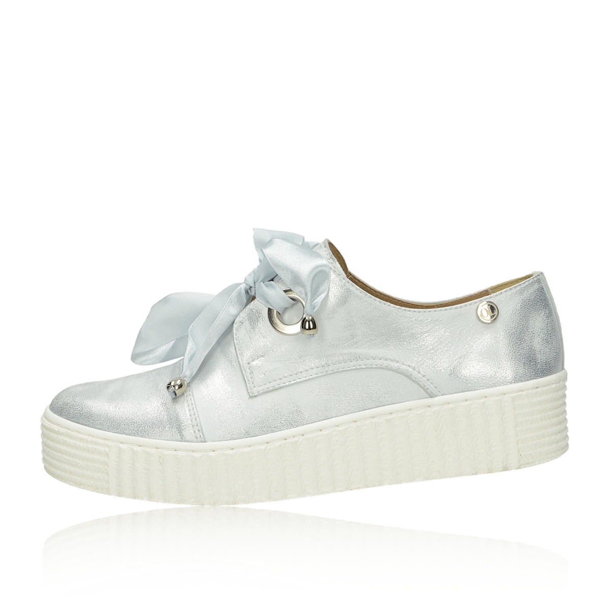 00c00880d863 ... Olivia shoes dámske kožené tenisky- strieborné ...