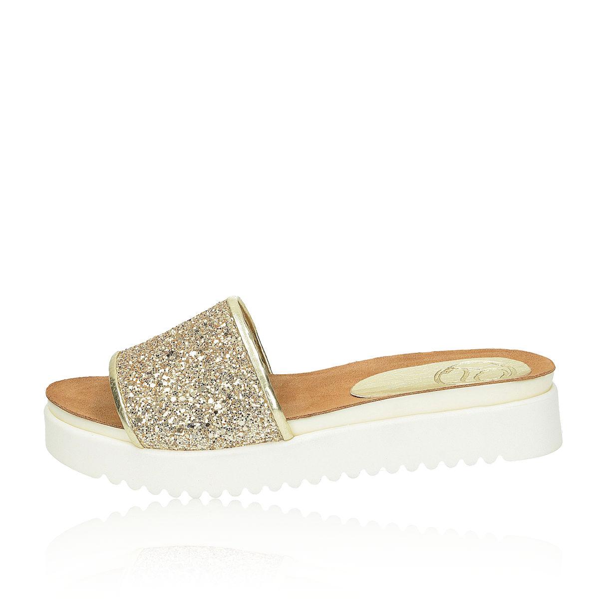 fa0f2402423d ... Olivia shoes dámske šľapky - zlaté ...