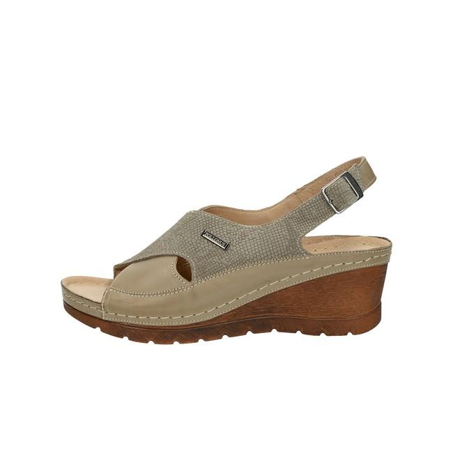 ... Pollonus dámske sandále na klinovej podrážke - béžové ... d42293b80ff