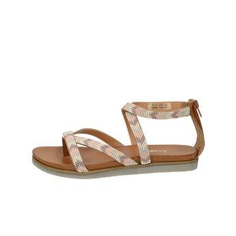 Bugatti dámske štýlové sandále s ozdobnými kamienkami - hnedé