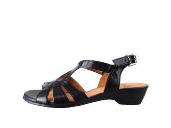 Caprice dámske čierne kožené sandále