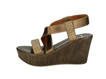 Cerutti dámske hnedé elegántne pohodlné sandále so zlatými trblietkami