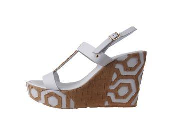 Cerutti dámske hnedobiele sandále na platforme