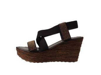Cerutti dámske tmavohnedé sandále na platforme