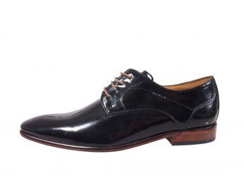 Daniel Hechter pánske lakované topánky - čierne