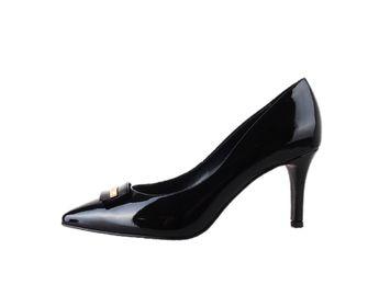 Classico & Bellezza dámske čierne kožené lodičky s ozdobou