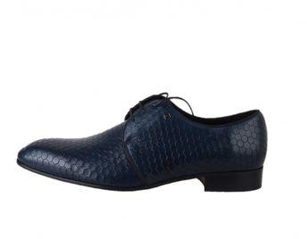 Conhpol pánske modré spoločenské topánky s potlačou