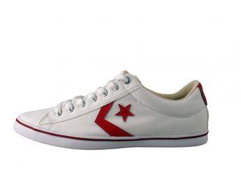 Converse pánske biele štýlové tenisky s červenými prvkami