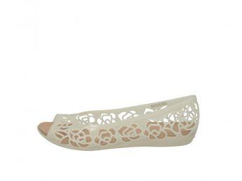 Crocs dámske biele štýlové balerínky s otvorenou špicou a perforáciou