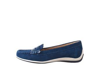 Geox dámske modré kožené pohodlné mokasíny