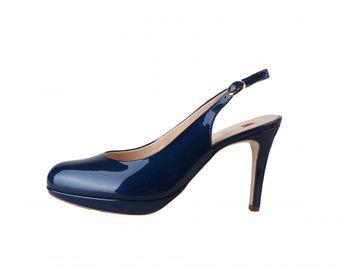 Högl dámske modré lakované sandále