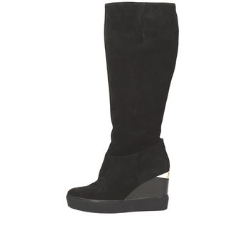 Hogl dámske vysoké čižmy na klinovej podrážke - čierne