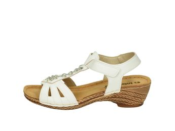 Inblu dámske biele sandále na suchý zips s trblietkami