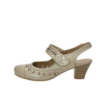 Jana dámske perforované sandále na podpätku - béžové