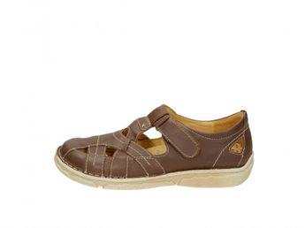 Josef Seibel dámske hnedé kožené sandále na suchý zips
