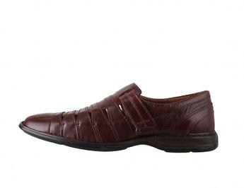 Josef Seibel pánske kožené sandále na suchý zips - hnedé