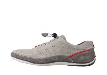 Josef Seibel pánske šedé kožené štýlové tenisky s hendými a červenými prvkami