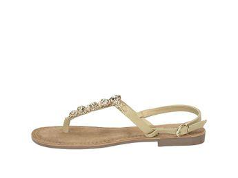 Lazamani dámske elegantné sandále s ozdobnými kamienkami - béžové