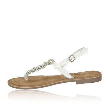 Lazamani dámske elegantné sandále s ozdobnými kamienkami - biele
