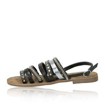Lazamani dámske štýlové sandále s ozdobnými prvkami - čierne