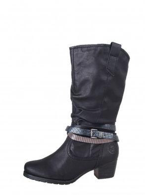 Marco Tozzi dámske čierne čižmy s okrasným remienkom