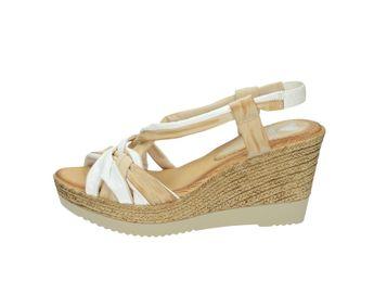 Marila dámske béžovo biele kožené letné sandále na plnom podpätku s béžovou podrážkou