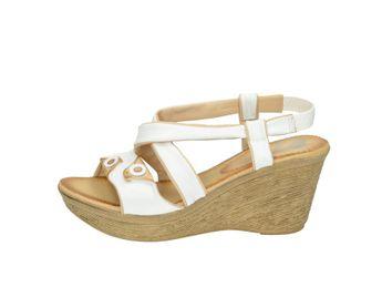 Marila dámske bielo hnedé pohodlné sandále na plnom podpätku