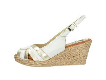 Marila dámske elegantné sandále na klinovej podražke - biele